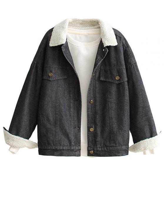 shop Fitting Lamb Wool Denim Jacket - WHITE ONE SIZE