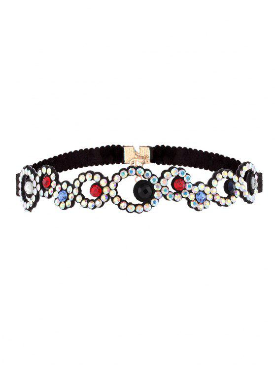 fancy Rhinestoned Floral Choker Necklace - COLORFUL