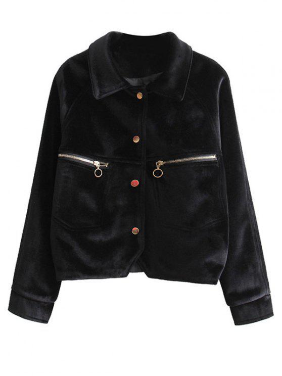 chic Zipper Embroidered Velvet Jacket - BLACK M