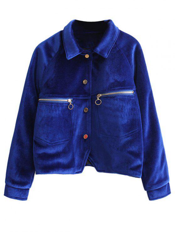 sale Zipper Embroidered Velvet Jacket - DEEP BLUE M