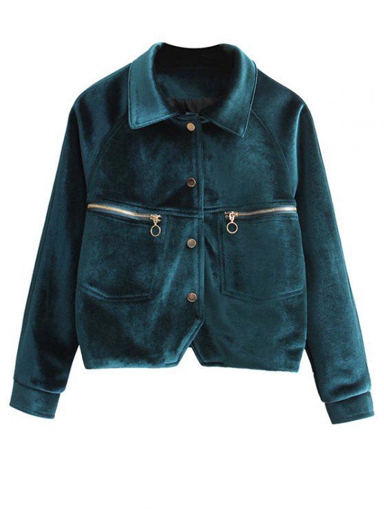 Letra bordada chaqueta de terciopelo - Verde negruzco M
