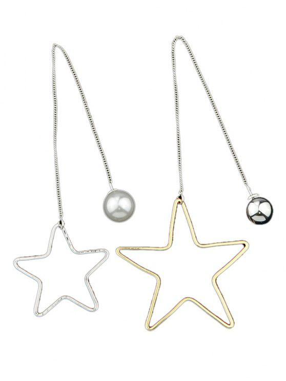 Pendientes de gota de los granos de la estrella asimétrica - Plata y Dorado