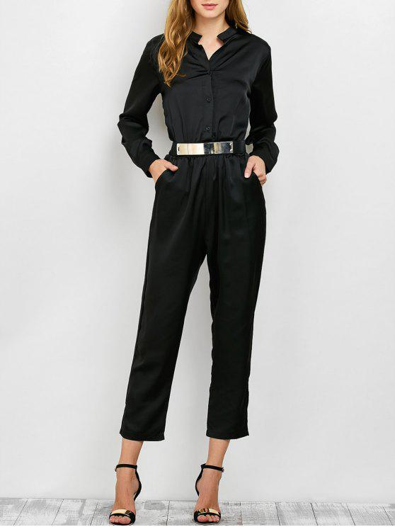 women Casual Straight Leg Long Sleeve Jumpsuit - BLACK S