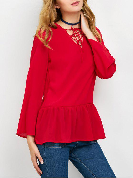 sale Flounce Ruffles Lace-Up Blouse - RED S