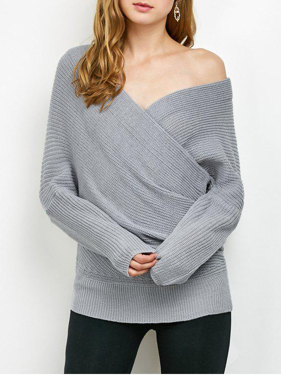 fancy Wrap Front Sweater - GRAY ONE SIZE