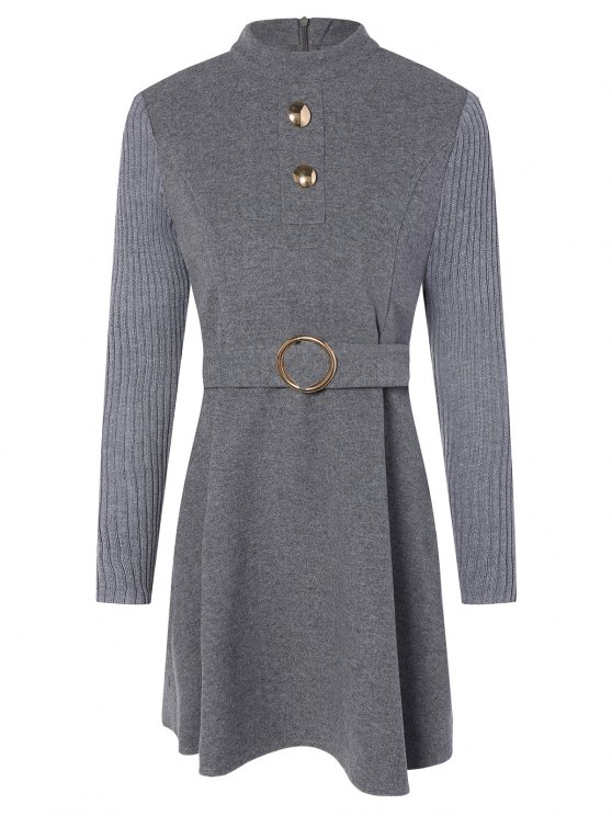 womens Stand Neck Wool Blend A Line Dress - GRAY M