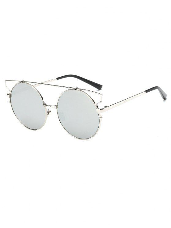online Cross Bar Round Mirrored Sunglasses - SILVER
