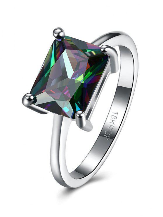 Geométrica del anillo Circón Artificial - Plata 7