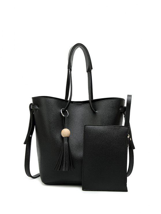 hot Tassel Shoulder Bag With Wristlet - BLACK