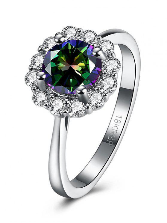 online Rhinestoned Blossom Ring - SILVER 8