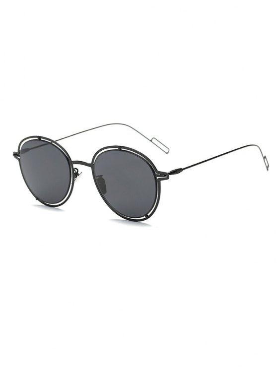 fashion Double Rims Metal Oval Sunglasses - BLACK