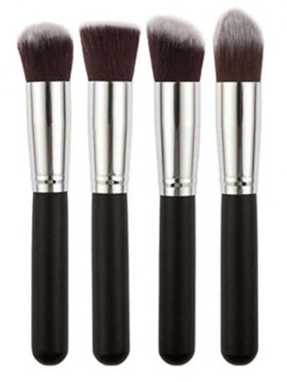 Ensemble de 4 pinceaux pour fond de maquillage en fibre - Argent