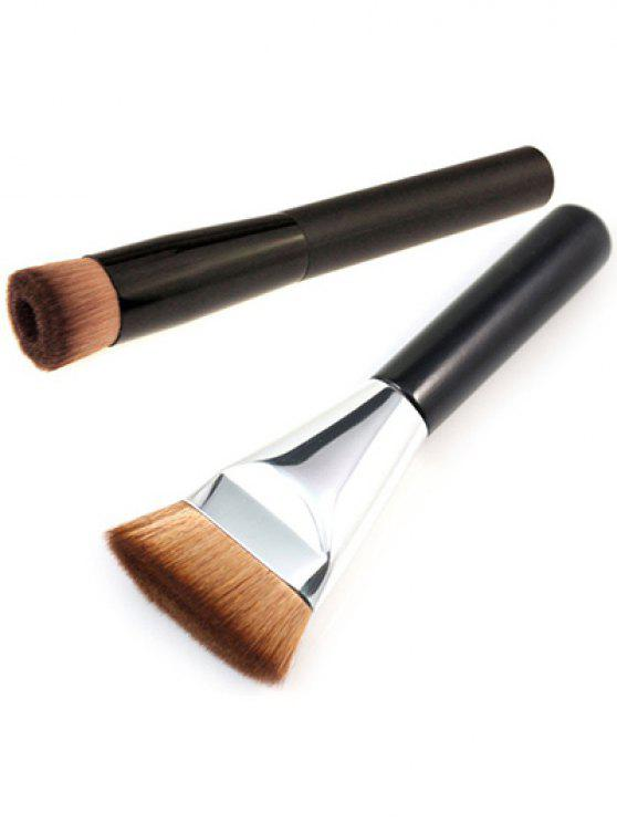 Brocha Plana Contorno + Cepillo de Maquillaje - Negro