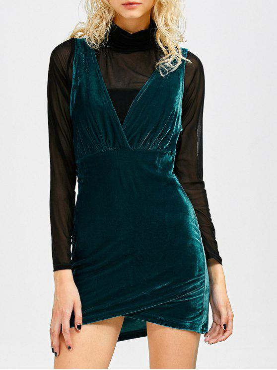 fancy Sleeveless Velvet Mini Dress - PEACOCK BLUE S