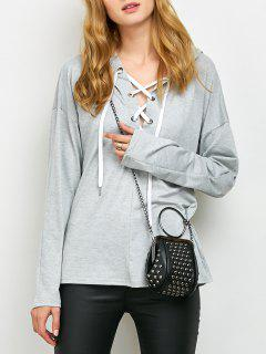 Long Sleeve Lace Up Hooded T Shirt - Gray L