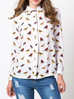 Birds Printed Hidden Chiffon Button Down Shirt - White Xl