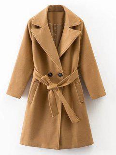 Wool Blend Trench Coat - Khaki S