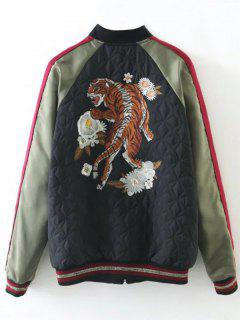 Tiger Embroidered Souvenir Baseball Jacket - Black S