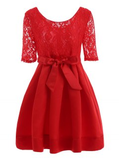 Lace Insert Vintage Dress With Belt - Red 2xl