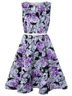 Sleeveless Floral Print A Line Swing Vintage Dress - Purple 2xl