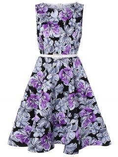 Ärmelloses Blumenmuster Eine Linie Swing Vintages Kleid - Lila 2xl