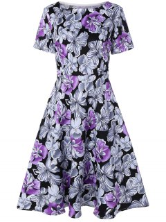 Blumendruck Vintage-Swing-Kleid - Lila 2xl