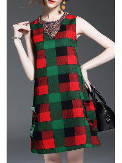 Beaded Plaid Sleeveless Dress - Plaid S