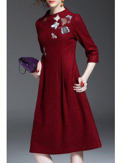 Wool Blend Embroidered A Line Dress - Wine Red S