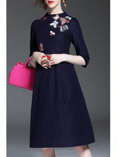 Wool Blend Embroidered A Line Dress - Purplish Blue S