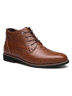 Casual Embossed Lace Up Boots - Brown 46