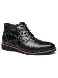 Casual Embossed Lace Up Boots - Black 45