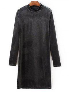 Medio Cuello Del Vestido Largo De Terciopelo Mangas - Gris S