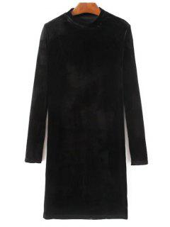 Mock Neck Long Sleeves Velvet Dress - Black L