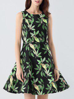 Jacquard Fitting Fit And Flare Dress - Green S