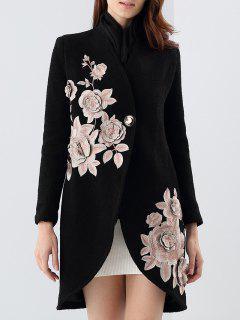 Manteau En Tissu Mixte De Laine Imprimé De Fleurs Avec écharpe En Soie - Noir S