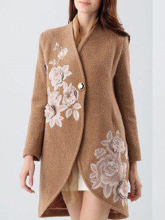 Manteau En Tissu Mixte De Laine Imprimé De Fleurs Avec écharpe En Soie - Camel S