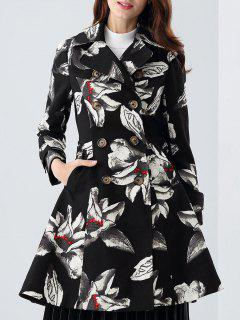 Skirted Floral Trench Coat - Black S