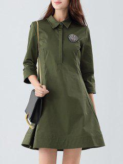 Patched Shirt Dress - Army Green S