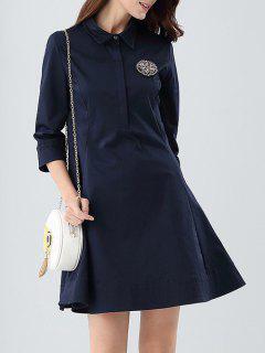 Robe Chemise A-ligne - Bleu Violet S