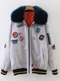 Patch Design Fur Collar Padded Bomber Jacket - Gray S