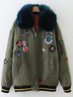 Patch Design Fur Collar Padded Bomber Jacket - Army Green S