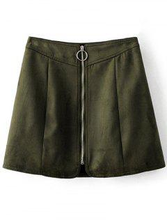 Zippered Suede Mini Skirt - Army Green L