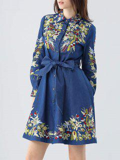 Embroidered Bowknot Denim Dress - Blue S