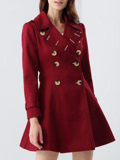 Double-Breasted Skirted Coat - Claret S
