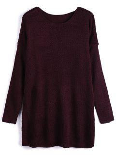 Dropped Shoulder Oversized Sweater - Wine Red L