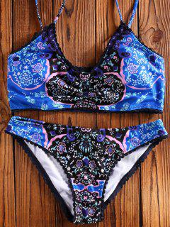 Assortiment De Bikini Floral à Fines Bretelles - Bleu L