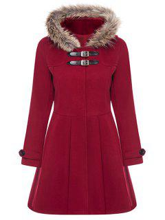 A Line Wool Blend Hooded Coat - Red L