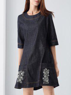 Beading Denim Dress - Black S