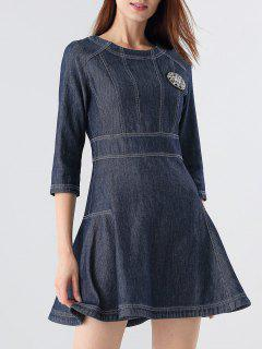 Beading A-Line Denim Dress - Blue 2xl