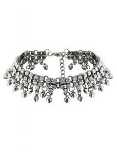 Collar De Cristal De Imitación De La Borla De Jingle Bell - Plata